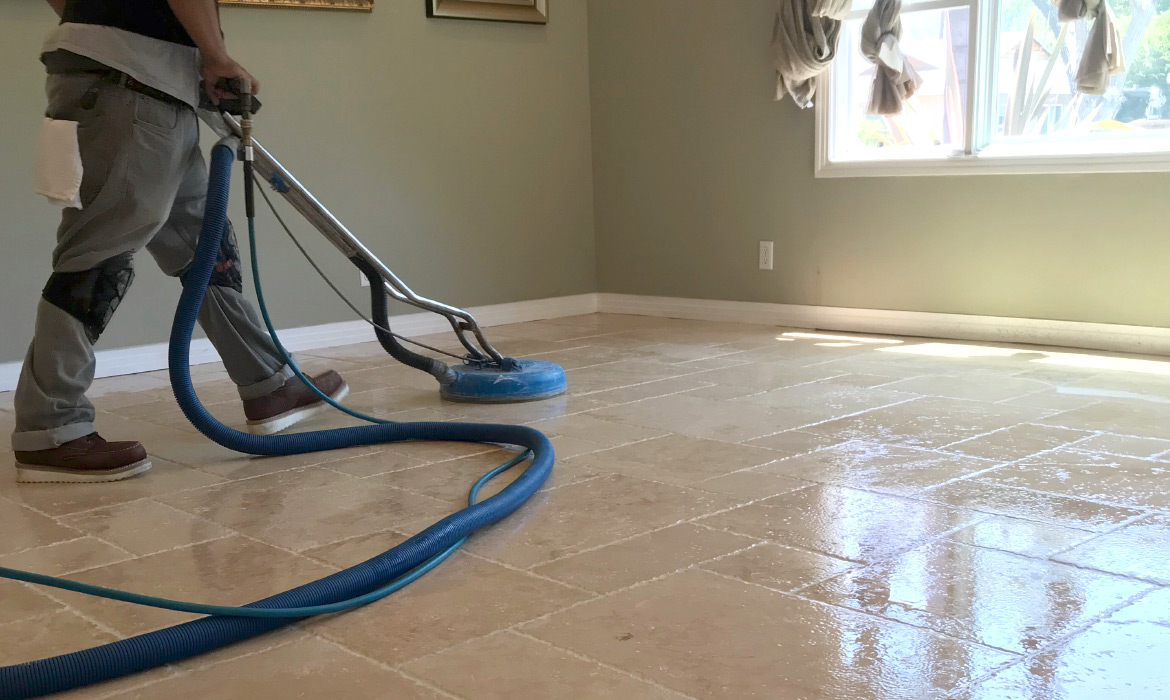 Cleaning and Filling Travertine Floors in Sydney CBD